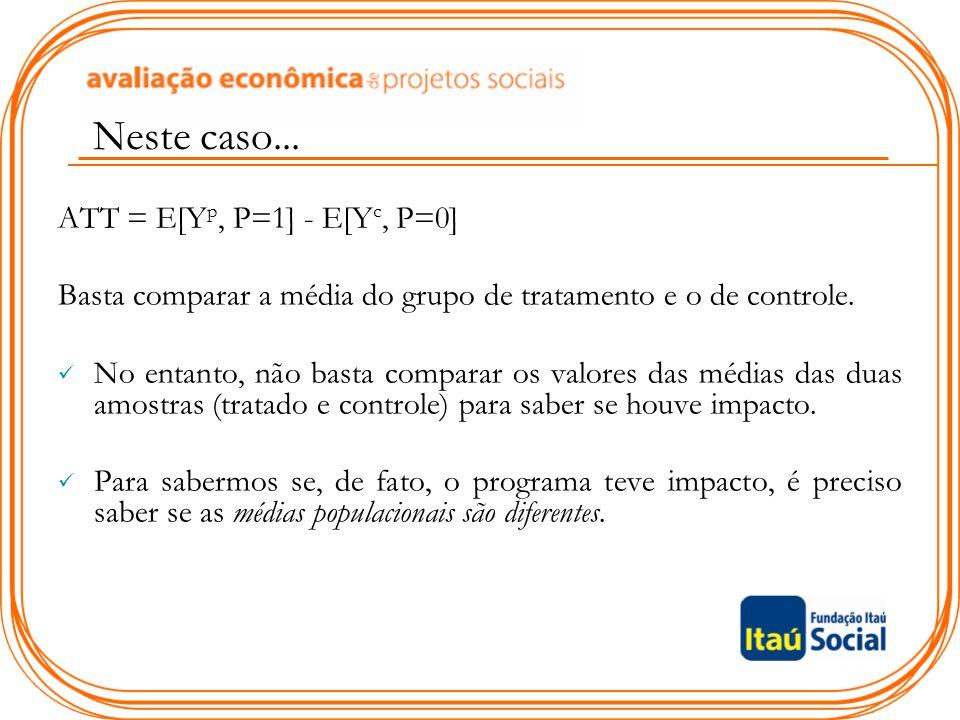 Neste caso... ATT = E[Yp, P=1] - E[Yc, P=0]